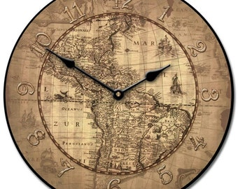Buy World Map Clock. 16th Century Parchment World Map Wall Clock wall clock  Etsy