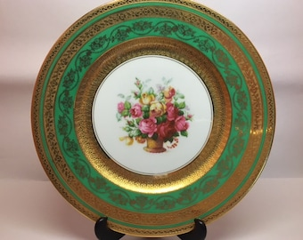 Vintage Hutschenreuther Lelb Rose Patterned Plate made in Bavaria, Germany