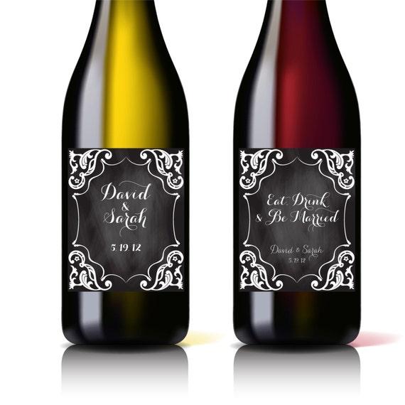 Printable Wine Bottle Labels: Custom Printable Wedding Wine Bottle Label