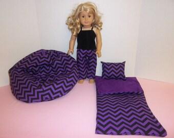 Fits American Girl Doll Pink And Purple And Black Chevron Sleeping Bag Pajamas And Bean Bag 106