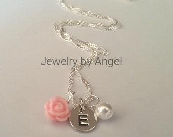 Flower Girl Necklace Rose Flower Pearl Hand Stamp Letter Charm Necklace Wedding Jewelry Flower Girl Jewelry