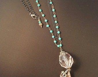 Multi Strand Beaded Tassel  Necklace with a Crown Charm