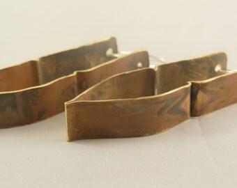 Brass hammered form folded earrings