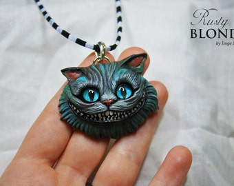 Cheshire Cat Alice in Wonderland One of a kind Pendant Necklace