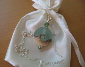 Ocean Necklace, Beach Ocean Necklace, Ocean Waves Necklace, Lampwork Necklace, Ocean Pendant Necklace, Seafoam Green Necklace, Sand and Sea