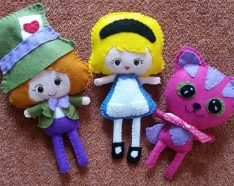 Alice, The Mad Hatter and The Cheshire Cat Alice in Wonderland felt plushie plush