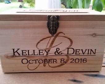 Wedding Card box, Laser engraved Wedding card Box, Anniversary card box, Graduation Card Box Rustic Cedar card box Rustic Wedding Decor