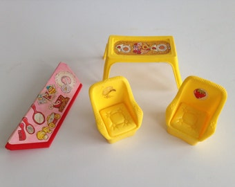 Vintage 1970's Strawberry Shortcake Furniture / Dollhouse Miniature Chairs and Table