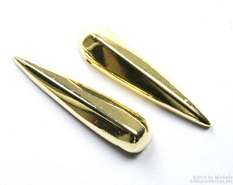 Beading Spikes 32mm - Gold Spike Beads - Hollow Cone Spikes with Holes - Gold Plated Beadable 7mm - Pack of 6 Pcs-Ships FAST from USA