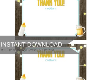 Thank you note file- Brewing Yard Party - Wood - PDF file - For Baby Shower - DIY Print Your Own PDF Only