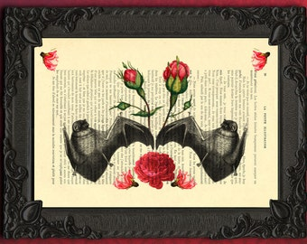 Bat art roses decor dictionary art print bat prints on antique book page dictionary page gothic roses floral artwork