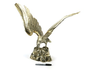 EXTRA LARGE! Vintage Mid Century Brass Eagle Statue - Gold Americana Federal Style - Military Veteran Gift - Wing Span Bird Bald Eagle