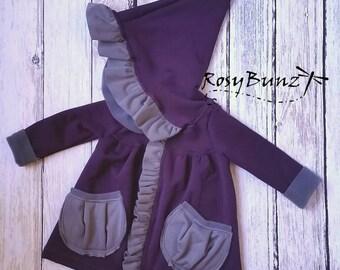 Girly ruffled jacket - Polartec PowerStretch Fleece - purple and grey - 3m, 6m, 12m, 18m, 2T