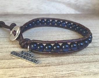 Navy Girlfriend Single Wrap Bracelet, US Navy Bracelet, I Love My Sailor