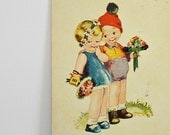 BIRTHDAY POSTCARD - little girl and boy, flowers red hat, blue dress, party postcard, old retro postcards, sympathy cards, greeting cards