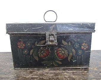 Sale Antique Tole Tin Tea Box