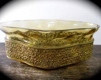 BEST PRICE SALE Amber Glass Planter with Metal Filigree Band