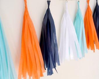 Orange Navy and Aqua Tissue Tassel Garland - One Stylish Party