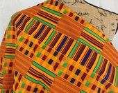 African Kente Print Fabric--Orange/Red/Green/Navy Blue KENTE Style--African Graphic Print--Made in Mali--African Fabric by the HALF YARD