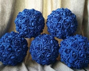 "Kissing Balls Royal Blue Pomanders Flower Balls 9"" For Wedding Decor Centerpieces Flower Girls Flower Balls"