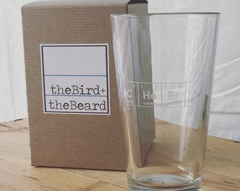 "IMPERFECT SECONDS Sale!! Periodic Table of the Elements ""CHeErS"" 16 ounce Pint Glass / Etched Glassware / Etched Barware"