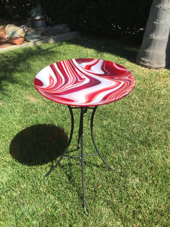 Red and White Swirl Bird Bath with Stand