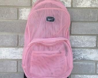 pink mesh sporty nike backpack bag