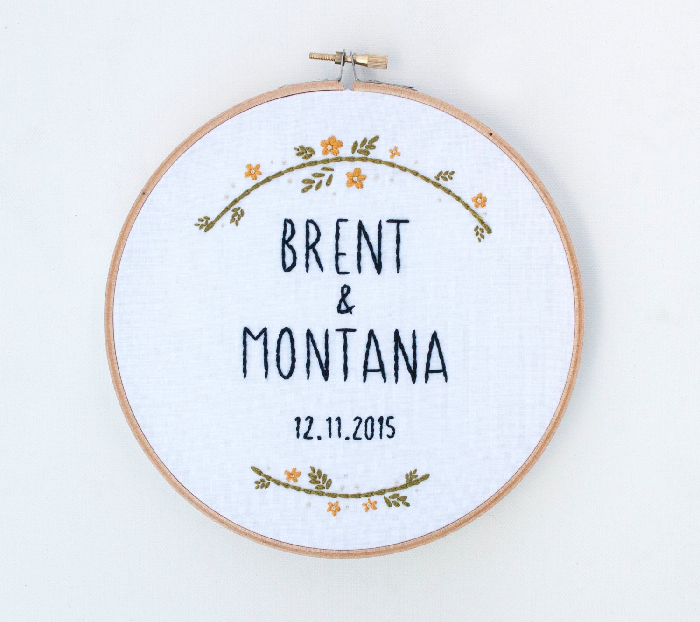 Wedding hoop art custom embroidery anniversary gift
