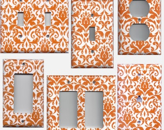 Bright Orange & White Floral Damask Light Switch Plates and Wall Outlet Covers Elegant Home Decor Accents Light Switch Covers