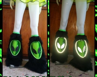 Alien Reflective UV Vinyl Fur Fluffies rave outfir burning man festival edc
