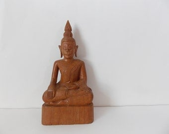 Vintage Hand Carved Buddha Statue Wooden Religious Figure