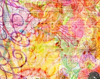 Flower Calligraphic Collage- Signed limited edition- Giclée print