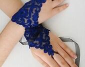 Blue lace gloves, navy blue gloves blue wedding gloves lace bridal wedding gloves Damask lace
