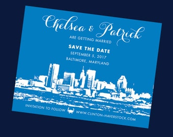Baltimore Wedding Save the Date // Skyline Save the Date Card // Maryland Wedding Save the Date //