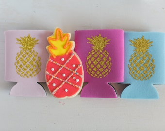 Glitter or Gold Foil Pineapple Can Cooler
