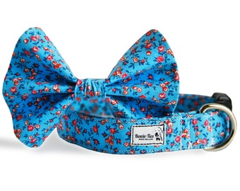 Blue Blossoms Tie and Collar