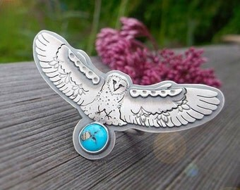 The Barn Owl Ring -  Silversmithed Totem Ring - Sleeping Beauty Turquoise Ring size 7 US