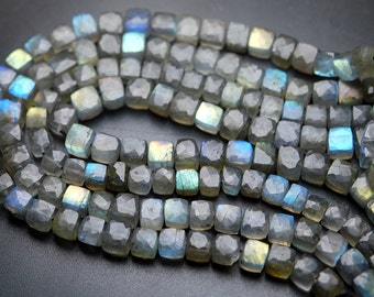 2x8 Inch Long Full Strand,Blue Flashy Labradorite Faceted 3d Cubes Box Beads,8-9mm