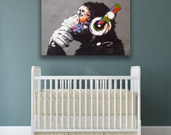 Banksy Monkey With Headphones Wall Art Canvas Print / Colorful Chimp Listening to Music Earphones Printing / Street Art Graffiti Printable