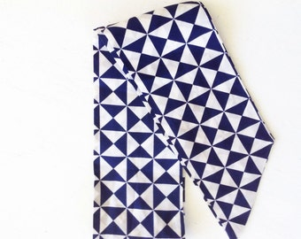 Vintage Print Scarf Head and Neck Scarf Navy and White Geometric print Head Wraps