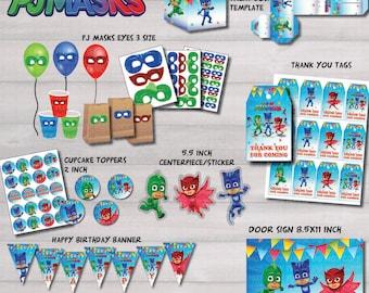 Instant DL - Pj Masks mega package set. pj masks kit birthday party package kit Digital JPEG file disney junior (non personaized)