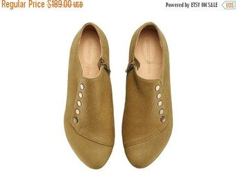 SUMMER SALE Olive shoes Grace handmade flats / Green leather shoes