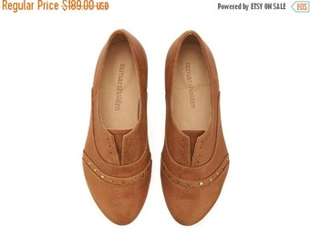 LAST SIZES SALE Coffee Molly shoes / Handmade flat leather light brown shoes by Tamar Shalem
