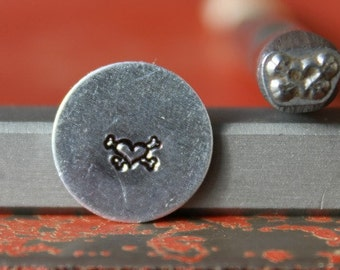 Heart and Crossbones Steel Stamp Perfect for Metal Stamping and Metal Work  SGK-7