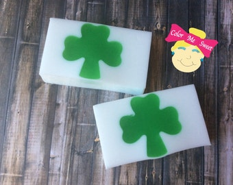 Vanilla mint soap, Clover soap, homemade soap, green soap, St. Patrick's Day soap, novelty soap, lucky soap, Irish
