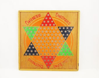 A 'Chinese Star' Chinese Checkers Game Board - All Wood Gameboard - Bright Colors With Instructions on Reverse