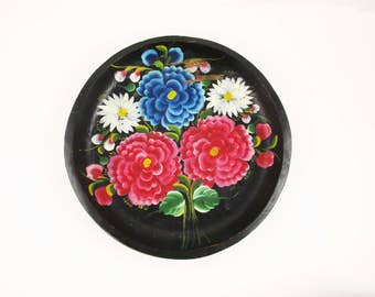 Dynamic Color - A Painted Wood Bowl With Hand-painted Brightly Colored Flowers - Bright Fuschia and Blue  - Wall Art
