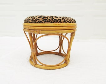 A Bentwood Bamboo Ottoman With Pillow Top - Light and Easy - Curved Sides - Removable Pillow - Leopard Print - Patio - Lounge - Sunroom