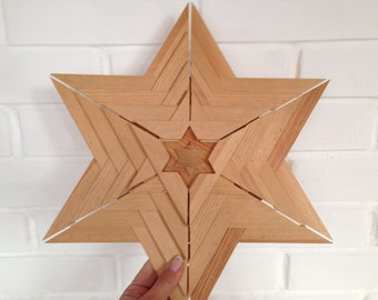 Vintage wooden star Wooden Christmas ornament Large Christmas star decoration Scandinavian Christmas