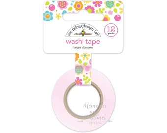 Bright Blossoms Floral Flowers Washi Tape - Doodlebug - Spring Garden Collection - Scrapbooking Embellishment Gift Wrapping - 534199
